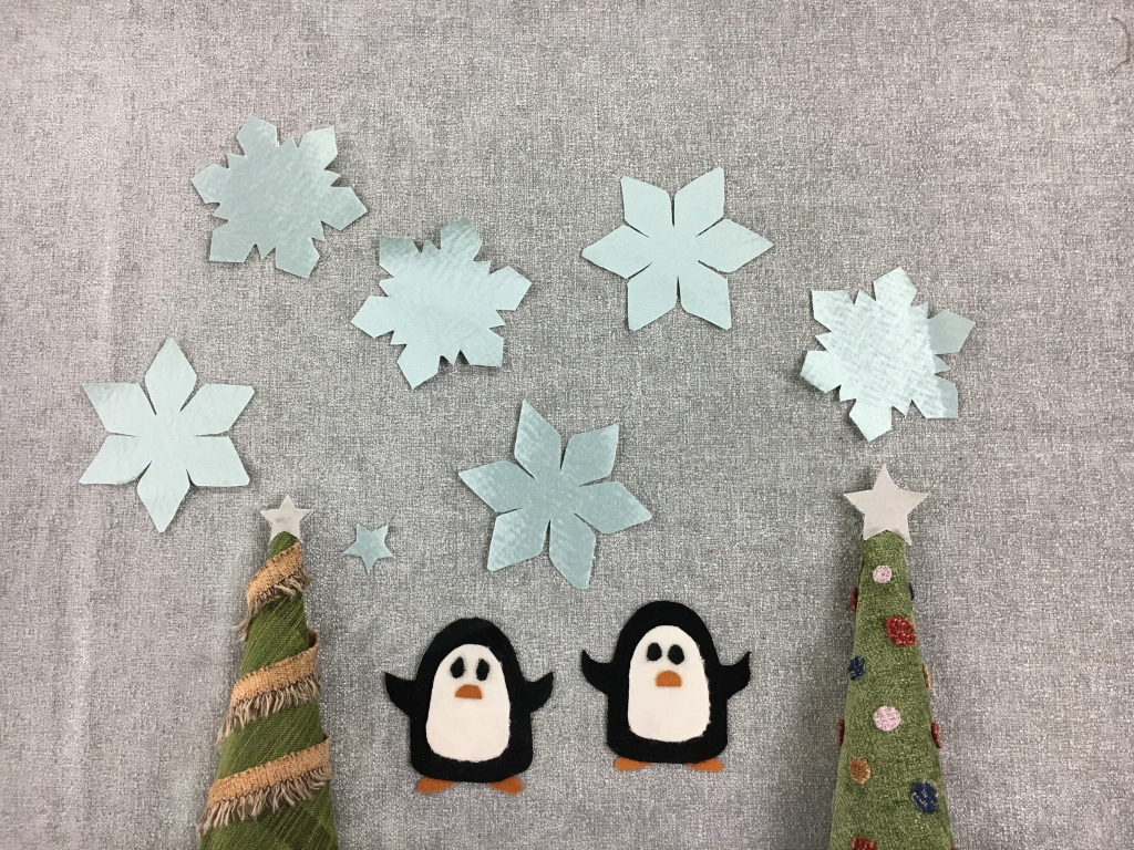 penguins trees and snowflakes 2