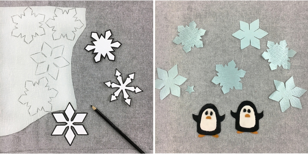 Snowflakes and penguins